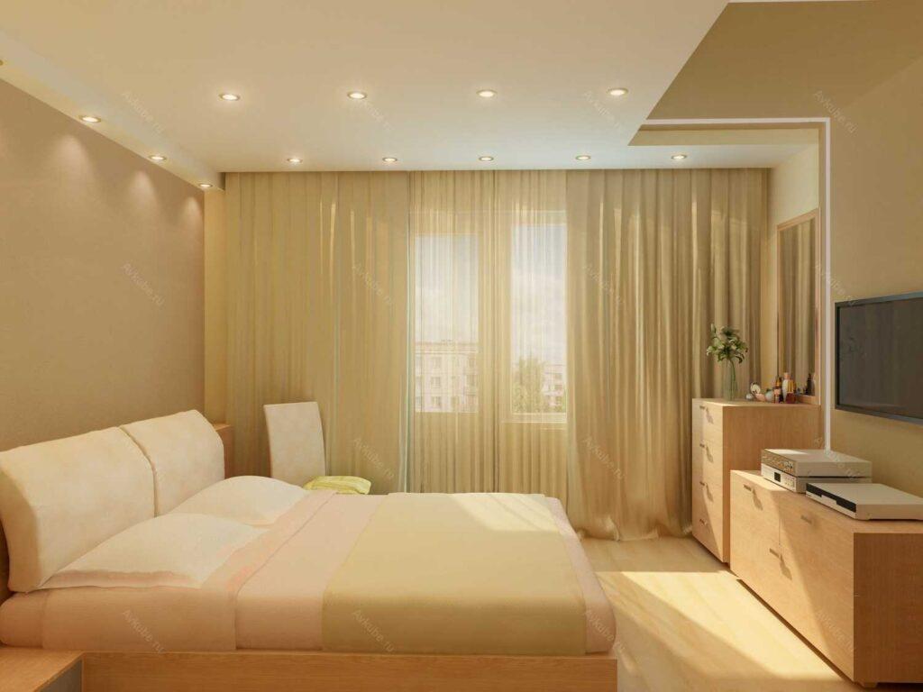 Натяжной потолок в спальне Долинская